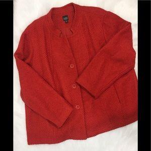 Eileen Fisher Woman Button Wool Jacket, Red, Sz 3X